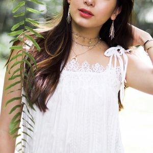 Anthropologie Eloise White Embroidered Detail Top